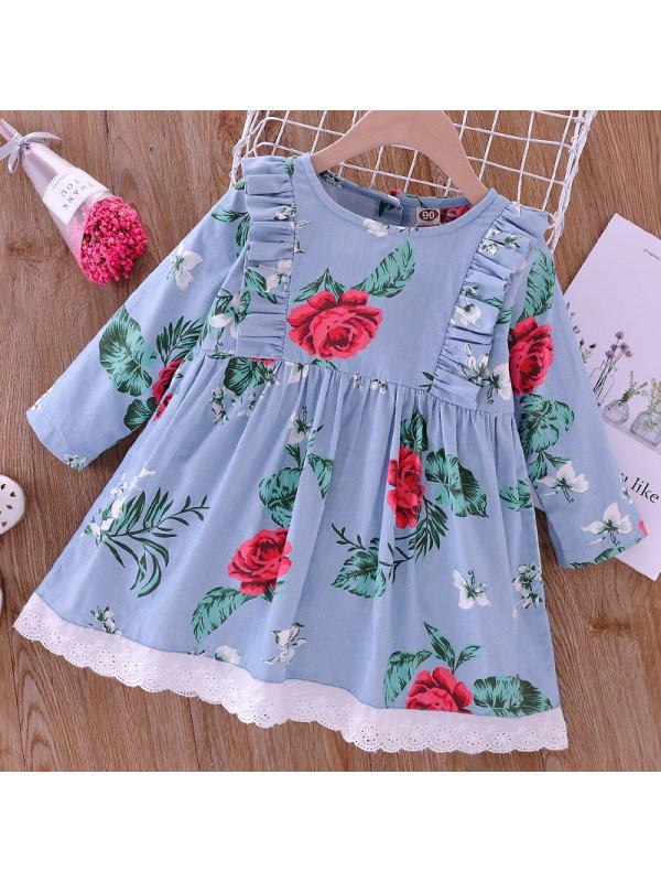 【18M-7Y】Girl Sweet Denim Flower Long Sleeve Dress