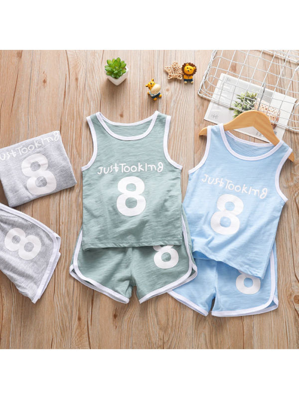 【18M-7Y】Boys Sleeveless Sports Vest And Shorts Two-piece Suit