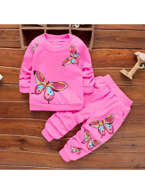 【12M-4Y】Girls Butterfly Print Long Sleeve Two-piece Suit