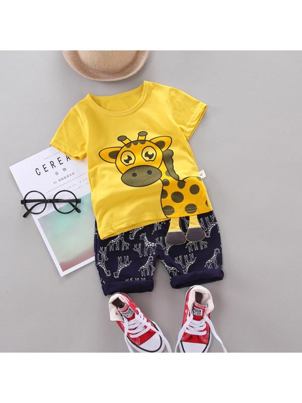 【12M-4Y】Boys Giraffe Print Short Sleeve Two-Piece Set