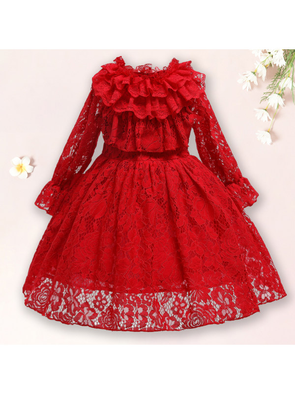 【2Y-11Y】Sweet Red Lace Long Sleeve Dress