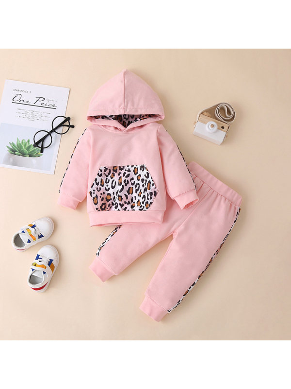 【12M-5Y】Girls Hooded Stitching Leopard Print Long-sleeved Sweatshirt With Trousers Suit