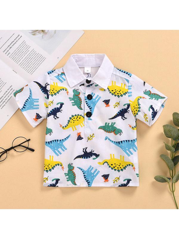 【6M-5Y】Boys Short-sleeved Colorful Dinosaur Print Shirt
