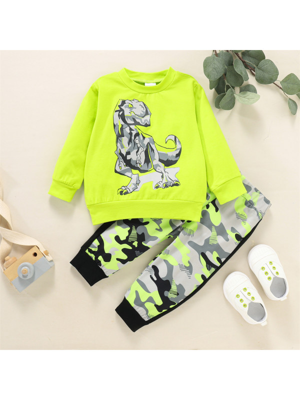 【6M-3Y】Baby Boy Round Neck Cartoon Print Long-sleeved Sweatshirt With Camouflage Trousers Suit