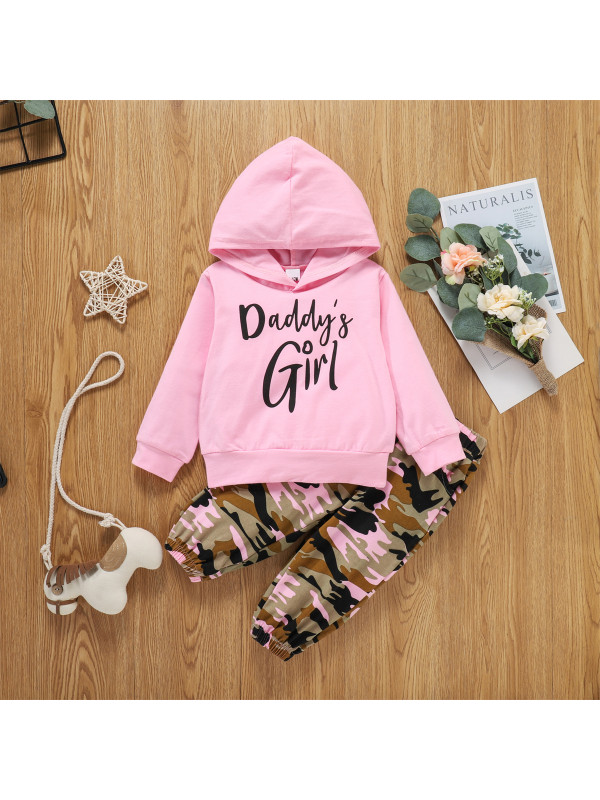 【12M-4Y】Girls Hooded Letter Print Long Sleeve Sweatshirt With Camouflage Long Suit