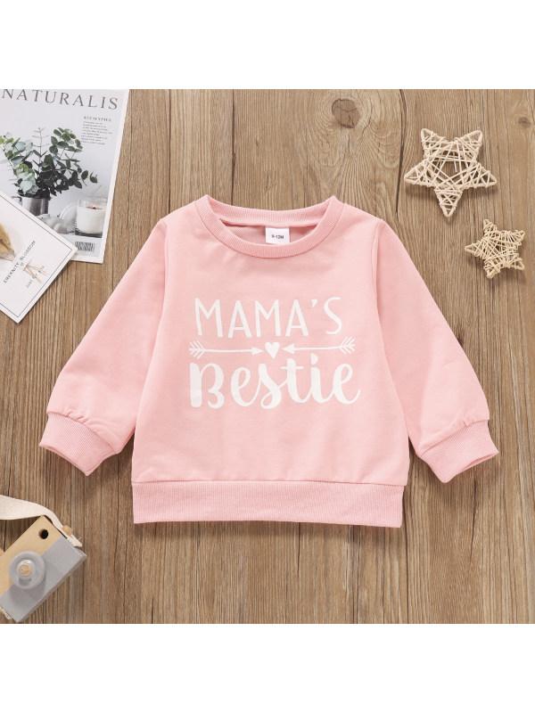 【3M-3Y】Girls Pink Letter Print Long-sleeved Sweatshirt