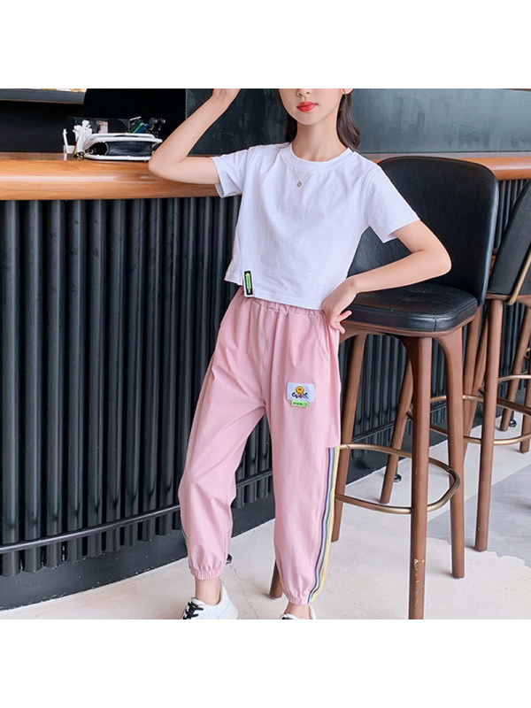 【4Y-15Y】Girls Casual Short-sleeved T-shirt Sports Trousers Two-piece Suit
