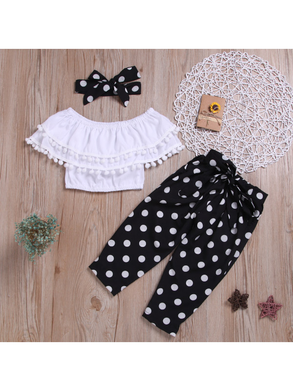 【2Y-7Y】Girls Strapless Lace Top Polka Dot Black Pants Three-piece Suit