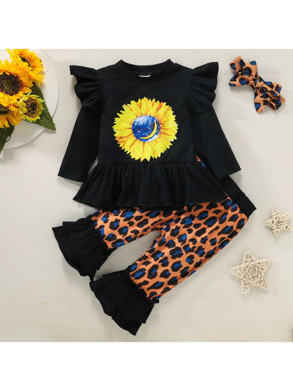 【6M-3Y】Baby Girl Round Neck Long Sleeve Printed Top With Pants Set