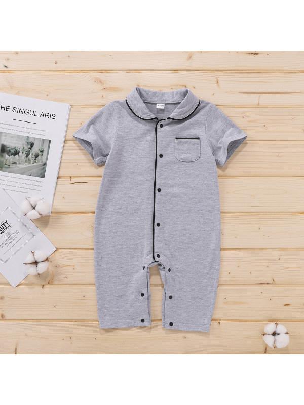 【0M-12M】Baby Boy Grey Black Side Snap Button Bodysuit