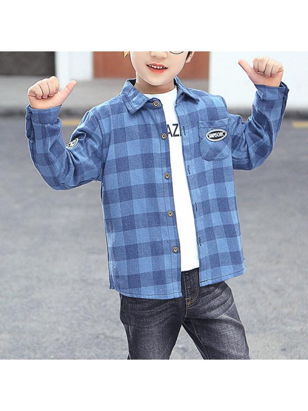 【3Y-15Y】Boy Long-sleeved Plaid Shirt