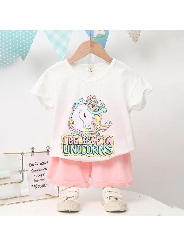 【18M-7Y】Girls Cartoon Unicorn Print Letter Short Sleeve T-Shirt Set