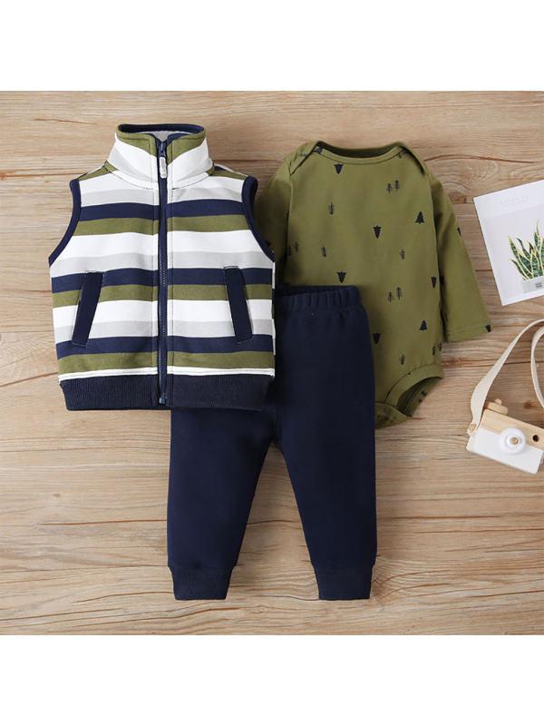 【3M-24M】Baby Leisure Vest Zipper Three-piece Suit