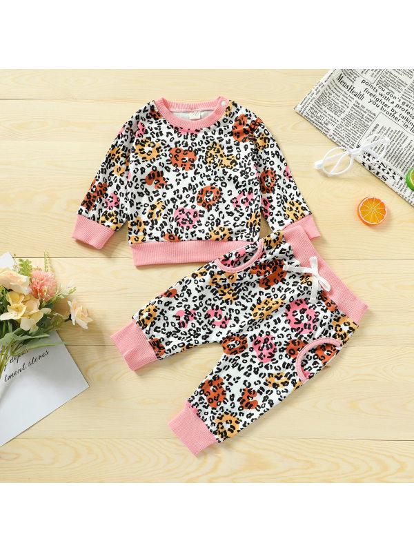 【6M-4Y】Flowers And Leopard Prin Long Sleeved Sweatshirt Set