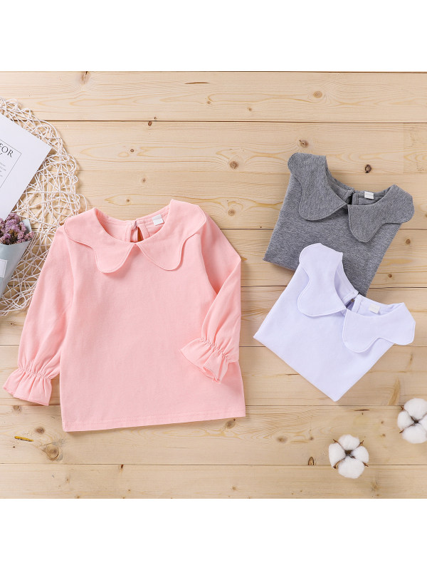 【3M-4Y】Baby Girl Doll Collar Solid Color Long-sleeved Top