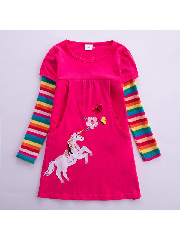 【3Y-8Y】Girl Sweet Rainbow Striped Unicorn Long Sleeve Dress