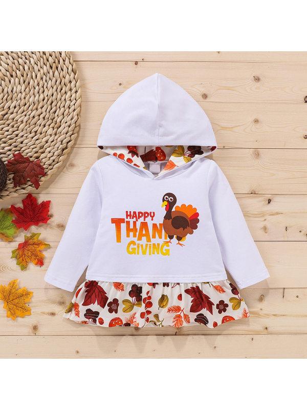 【18M-7Y】Girl's Hooded Hem Stitching Cartoon Print Ruffled Long-sleeved Sweatershirt