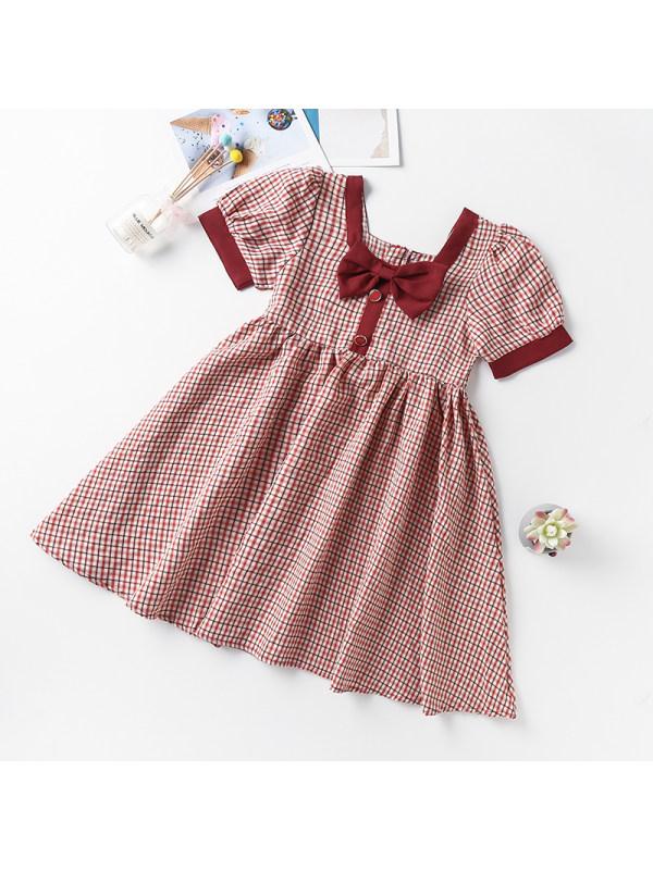 【3Y-13Y】Girls Puff Sleeve Square Neck Plaid Dress