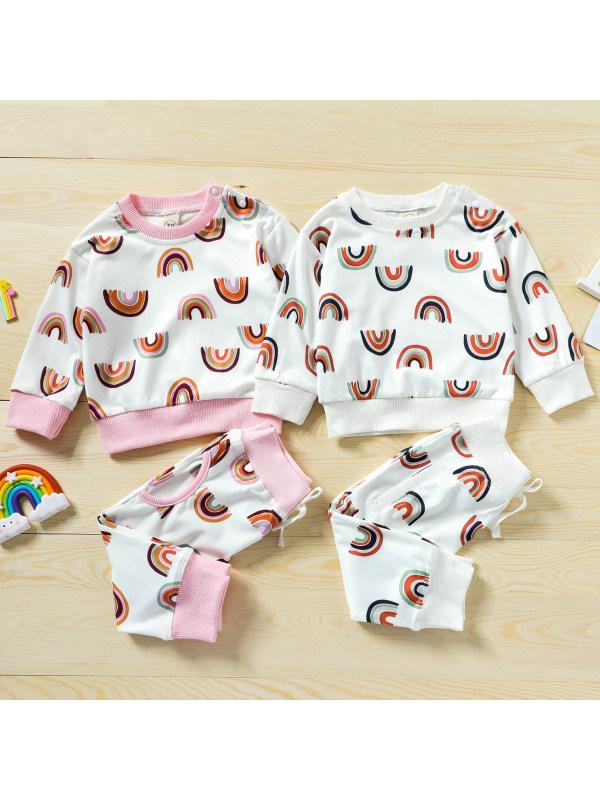 【6M-4Y】Cute Rainbow Print Long Sleeve Sweatshirt Set
