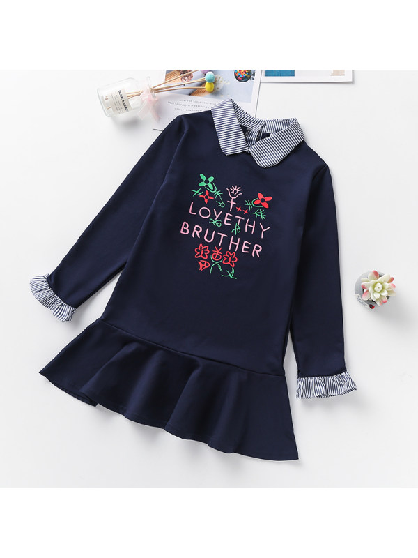 【3Y-13Y】Girls Baby Collar Letter Print Long-sleeved Dress