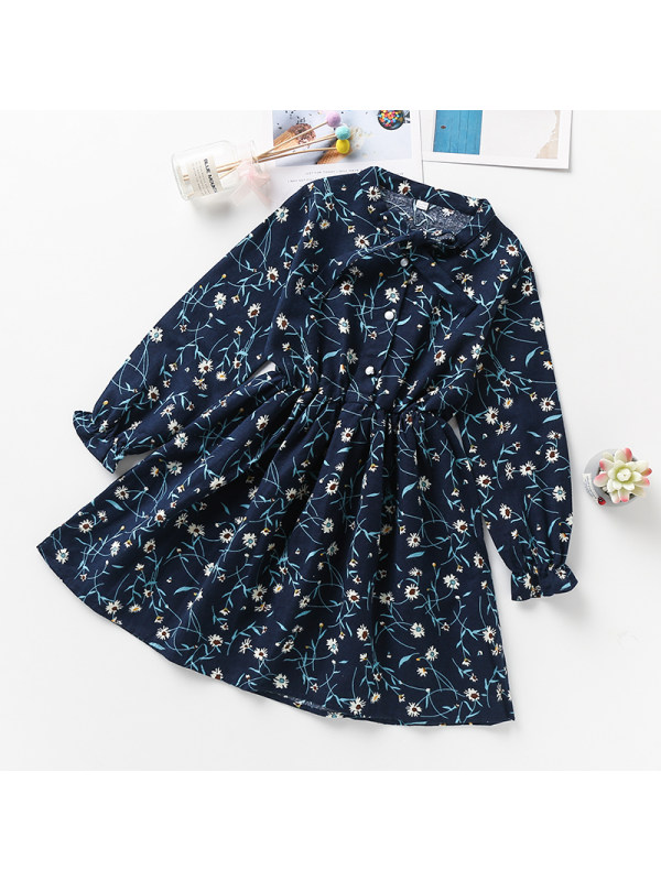 【3Y-13Y】Girls Stand-collar Long-sleeved Floral Dress
