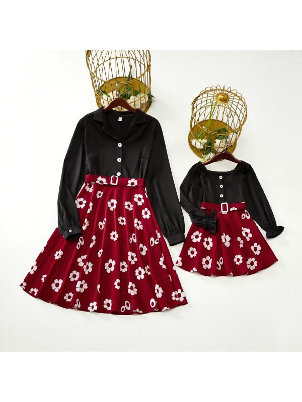 Retro Style Long-sleeved Stitching Belt Mom Girl Matching Dress