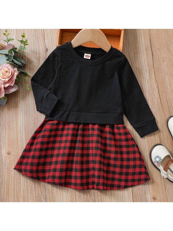 【3M-24M】Cute Red Plaid Long Sleeve Dress