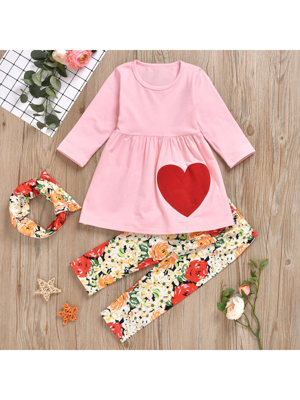 【18M-7Y】Sweet Embroidered T-shirt And Floral Pants Set