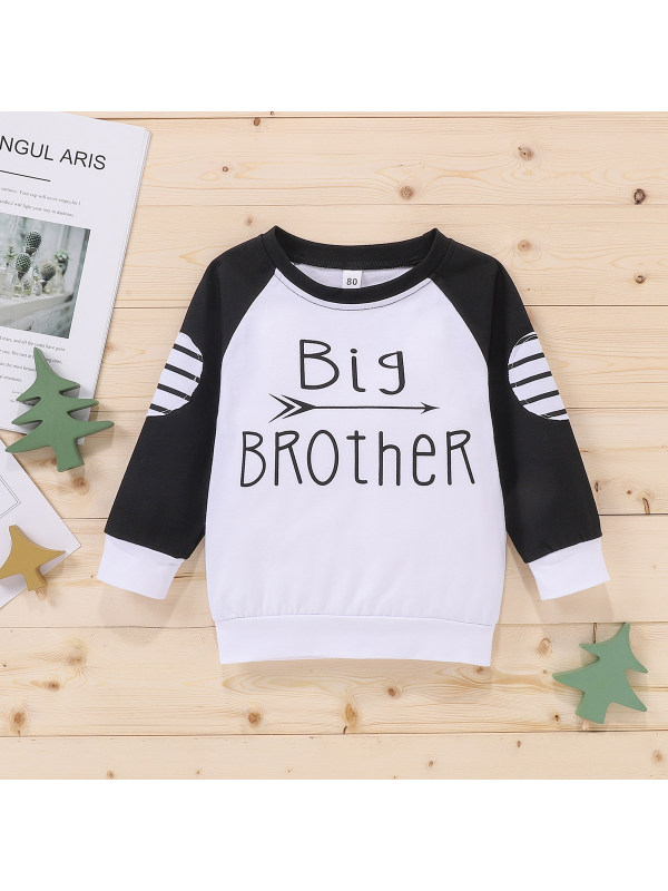 【12M-4Y】Boys' Round Neck Long-sleeved Letter Print Stitching Striped Sweatershirt