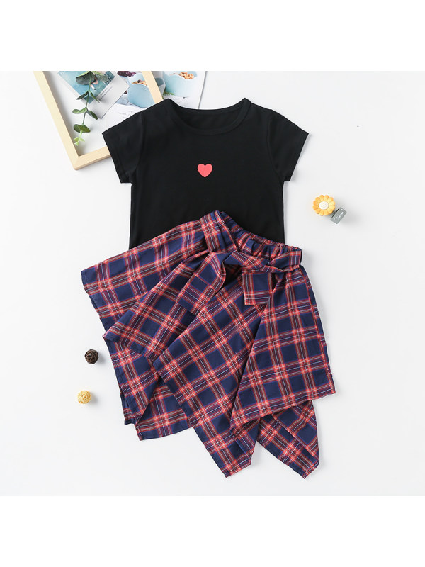 【3Y-13Y】Girl Round Neck Love T-shirt with Plaid Skirt Two-piece Suit