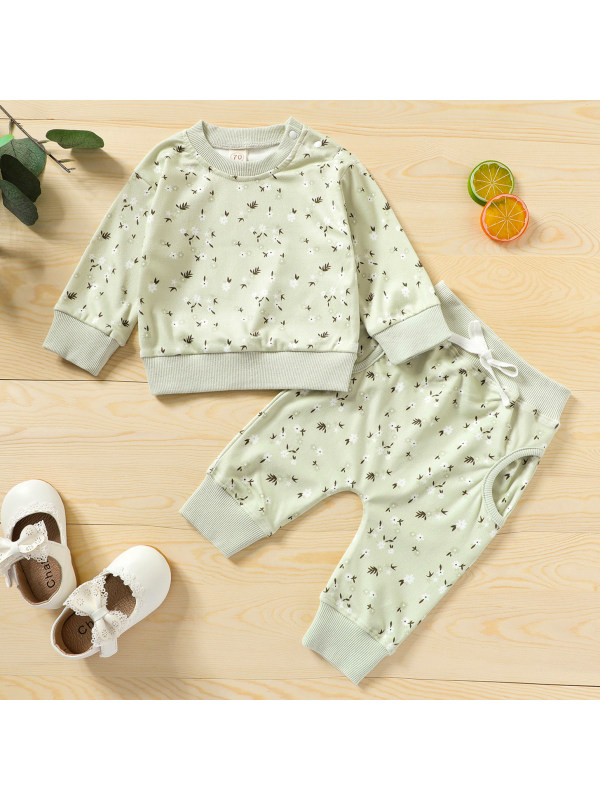【6M-4Y】Flower Print Light Green Long Sleeved Sweatshirt Set