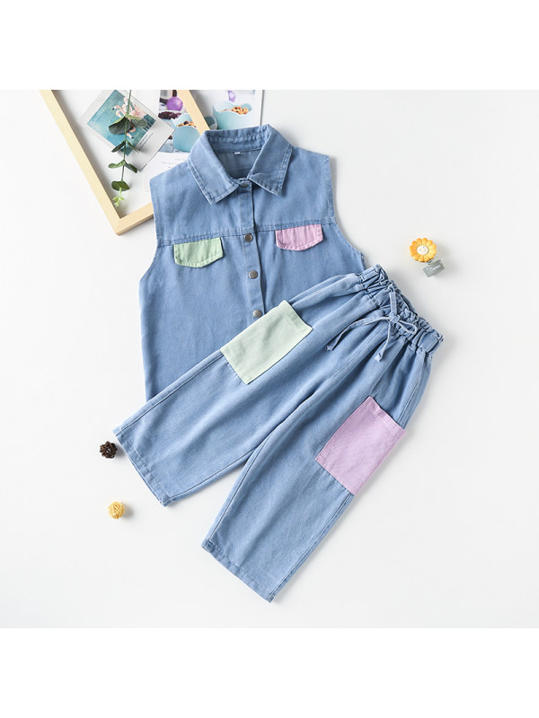 【3Y-13Y】Girl's Lapel Sleeveless Waistcoat With Patch Jeans Two-piece Set