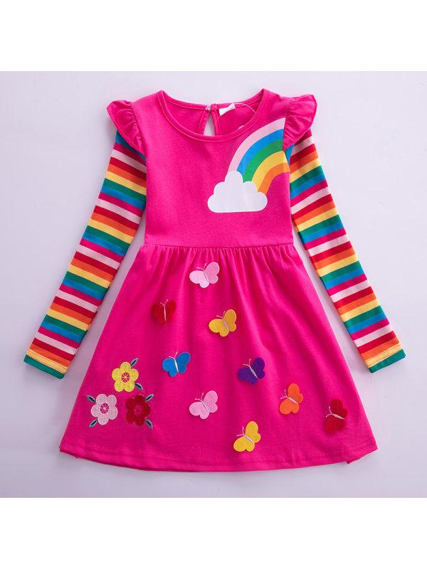 【3Y-8Y】Girl Sweet Rainbow Striped Long Sleeve Dress