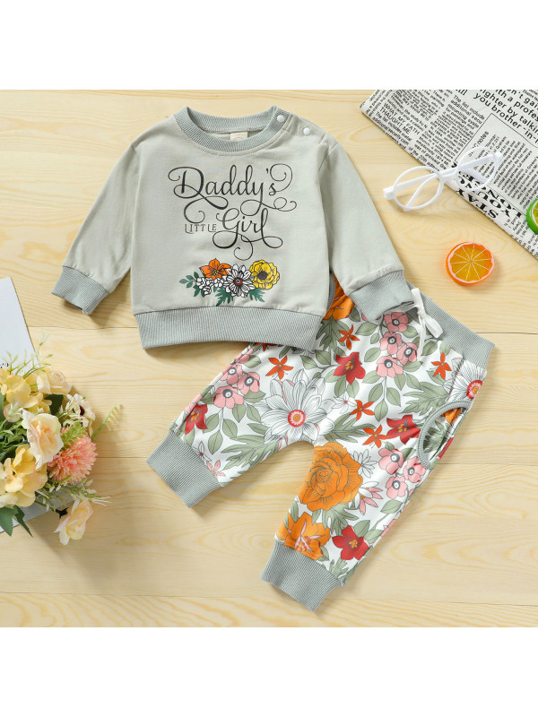 【6M-4Y】Sweet Flower Print Long Sleeved Sweatshirt Set