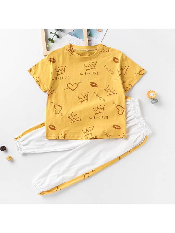 【3Y-13Y】Big Girl Round Neck Cartoon Print Top With Trousers Two-piece Suit