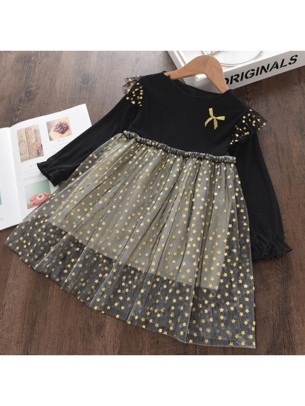 【18M-9Y】Girls' Mesh Stitching Long Sleeve Dress
