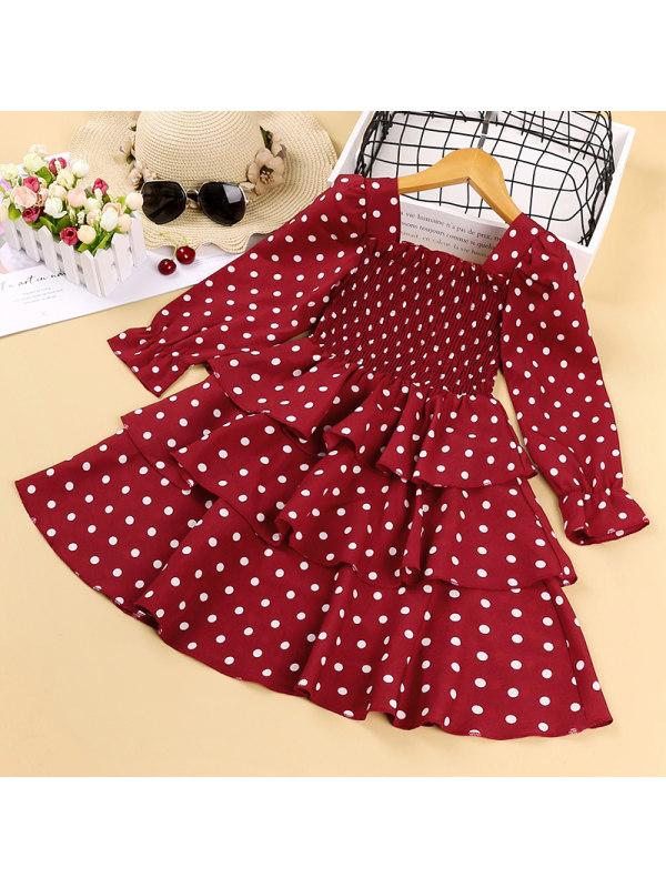 【3Y-11Y】Girls Polka Dot Long Sleeve Tube Top Dress