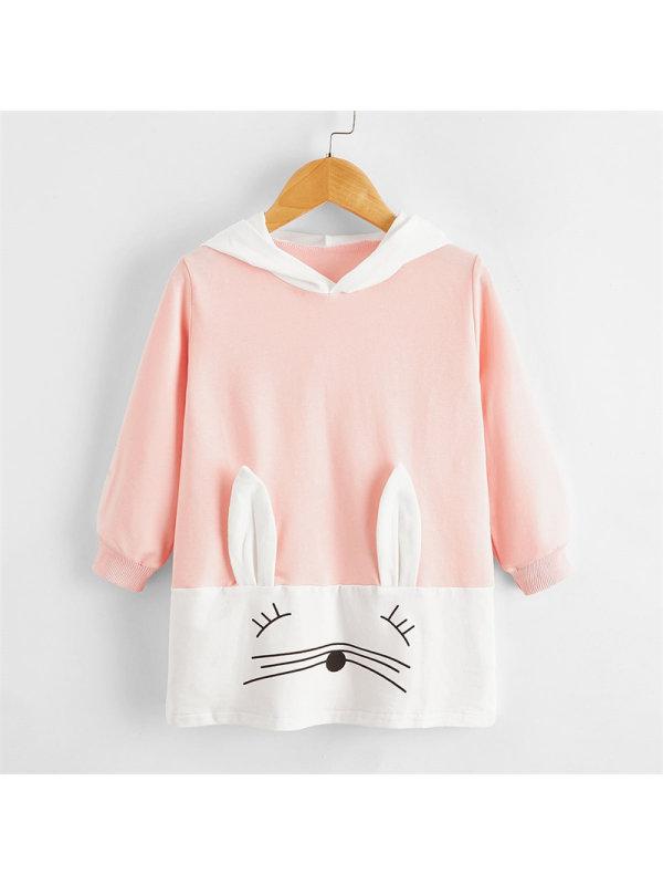【18M-7Y】Girls Pink Rabbit Hooded Sweatershirt Dress