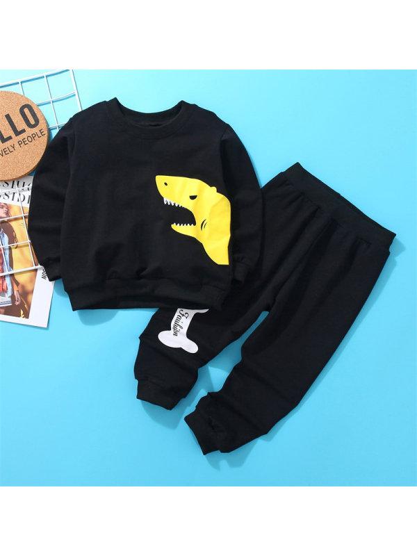【18M-7Y】Boys Animal Print Simple Long-sleeved Sweatershirt Suit