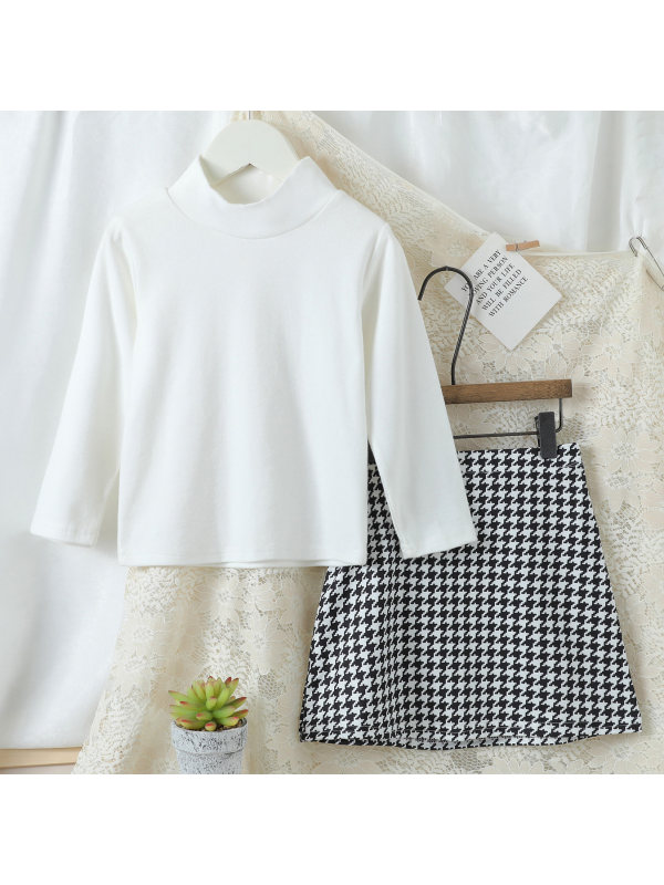 【18M-7Y】Girls White T-shirt And Houndstooth Skirt Set