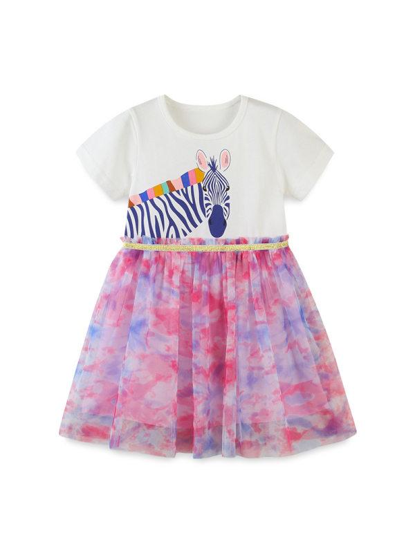【18M-9Y】Girls Zebra Print Contrast Dress