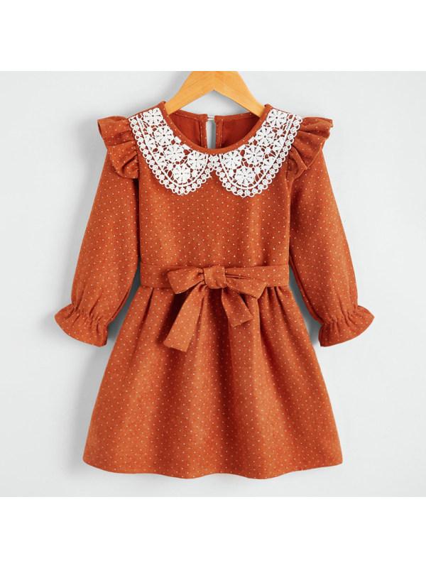 【18M-7Y】Sweet Lace Collar Sweet Brown Polka Dot Dress