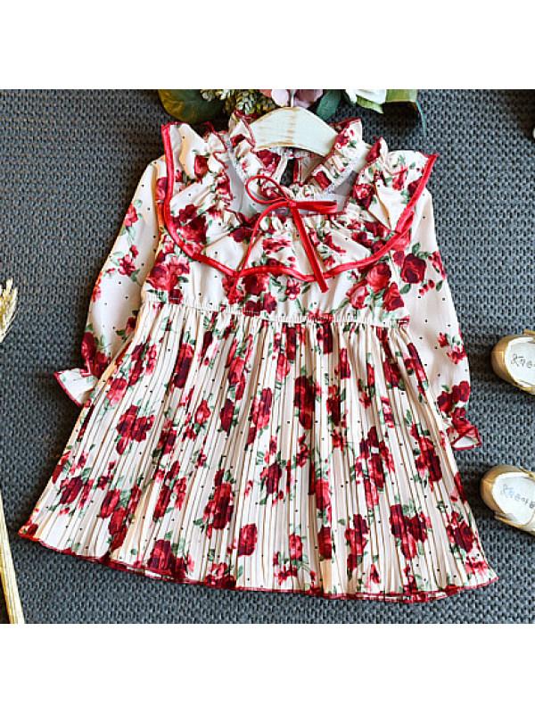 【18M-7Y】Sweet Red Flowers Long Sleeve Dress