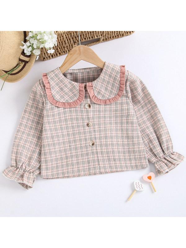 【18M-7Y】Sweet Pink Plaid Long Sleeve Shirt