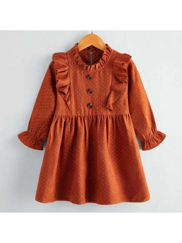 【18M-7Y】Sweet Ruffled Polka Dot Long Sleeved Dress