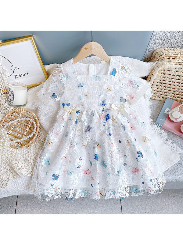 【2Y-9Y】Girls Butterfly Lace Puff Sleeve Dress