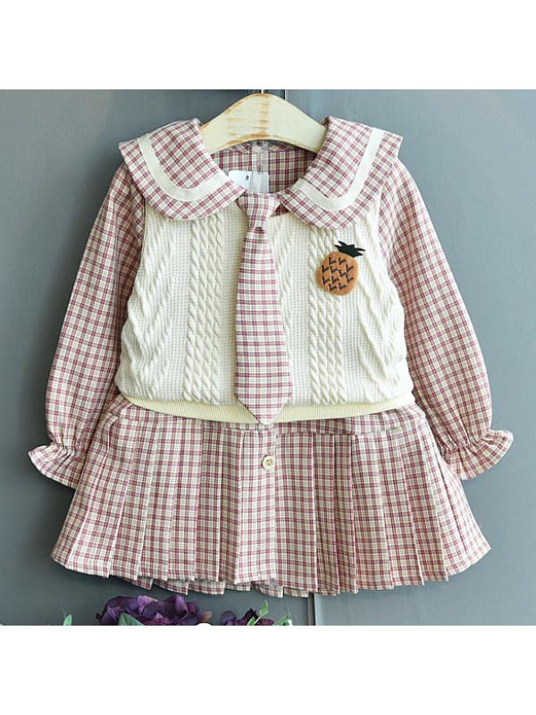 【18M-7Y】Cute Plaid Dress And Top Set