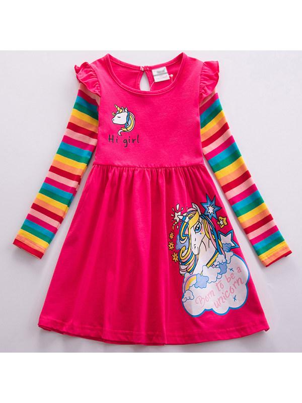 【18M-7Y】Girl Sweet Rainbow Unicorn Pattern Long Sleeve Dress