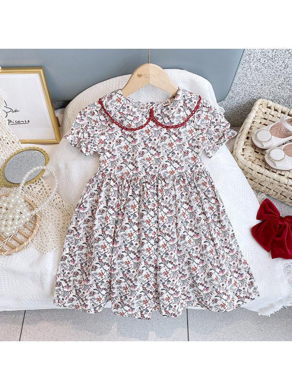 【2Y-9Y】Girls Doll Collar Puff Sleeve Fruits Print Dress