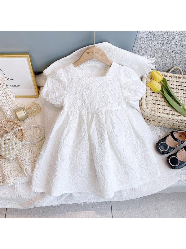【18M-7Y】Sweet Girl Round Neck Puff Sleeve Dress